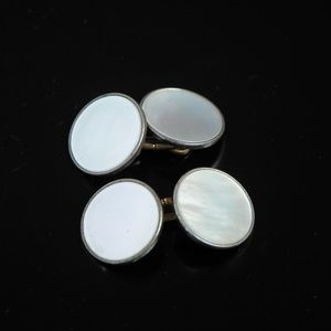 Antique Chain Link Mother of Pearl Shell Cufflinks